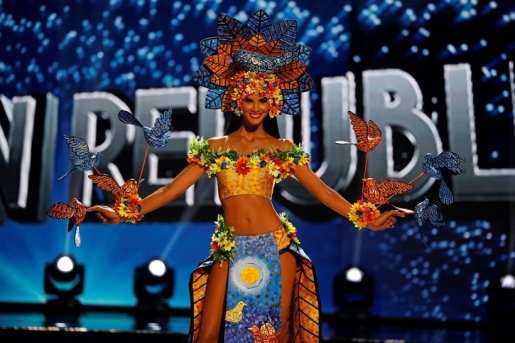 Miss Universe candidate from Dominican Republic Sal Garcia competes during a national costume preliminary competition in Pasay, Metro Manila